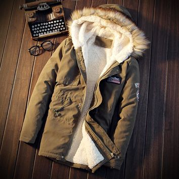 Wool Liner Down & Parkas Men's Winter Hooded Long Thick warm Down Jackets New Fashion Male ArmyGreen Outwear Coats Size 5XL