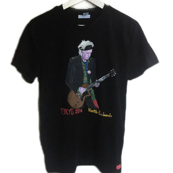 Rolling Stones T-shirt Keith Richards Tシャツ Shirt  3D Painting Tokyo Top Tank Customizable