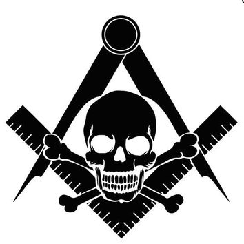Skull Square & Compass Car Window Decal