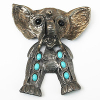Large Vintage Articulating Silver Turquoise Elephant Puppet Pendent- Unmarked Juliana D & E