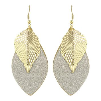 Diamonte - Leaf Shaped Hanging Earrings