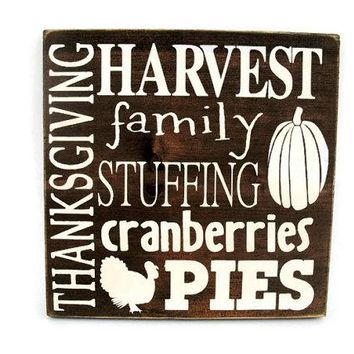 Thanksgiving Rustic Wood Sign Wall Hanging Home Decor - Subway Art  (#1233)