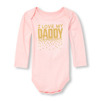 Baby Girls Long Sleeve Foil 'I Love My Daddy' Graphic Bodysuit | The Children's Place