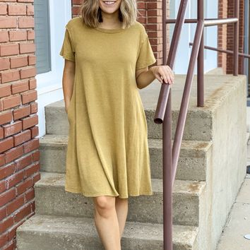Washed Cotton Mineral Wash Dress - Mustard