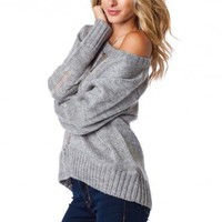 Chunky Shredded Sweater in Gray - ShopSosie.com