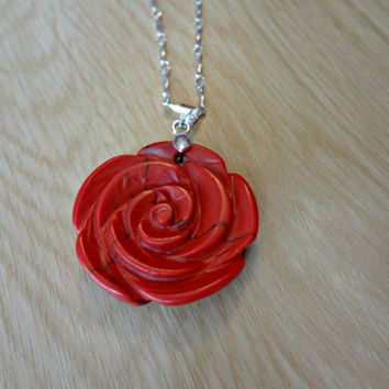 Rose Carved Howlite Necklace on Silver by EudaimoniaJewelry