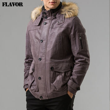 winter Men's Pigskin real leather jacket Hooded Genuine Leather jacket with fake fur hat Detachable male overcoat