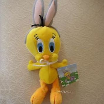 Licensed cool Tweety Bird Bunny Ears Easter Basket Bean Bag Warner Bros Looney Tunes  Plush