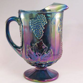 Blue Carnival Glass Pitcher | Indiana Glass | Harvest Grape |
