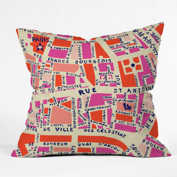 Holli Zollinger Paris Map Pink Outdoor Throw Pillow