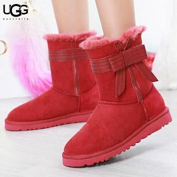UGG New fashion bow fur shoes keep warm boost women Red