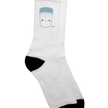 Cute Matching Milk and Cookie Design - Milk Adult Crew Socks - by TooLoud