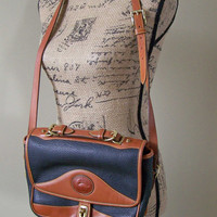 Dooney and Bourke Handbag, Vintage Dooney and Bourke Carrier Shoulderbag, Black Leather and Brown British Tan Bag, Leather Handbag, Handbag