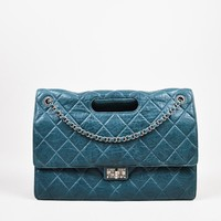 """Chanel Teal Lambskin Leather Quilted Double Flap Maxi """"Takeaway"""" Bag"""