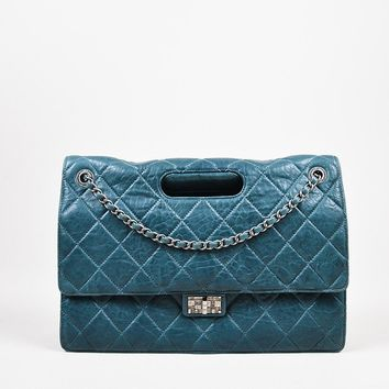 "Chanel Teal Lambskin Leather Quilted Double Flap Maxi ""Takeaway"" Bag"