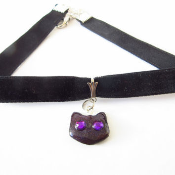 Black  VELVET GALAXY  CAT kitty choker pendant necklace with glowing purple eyes Cheshire cat Alice in Wonderland Galaxy Cosmos Space Disney