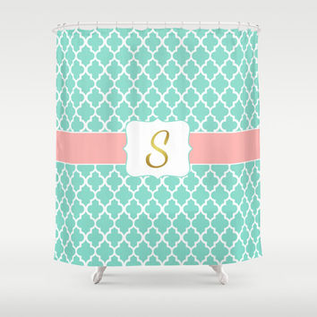 Superieur Monogrammed Shower Curtain, Mint + Coral Pink, Faux Gold Foil Mo