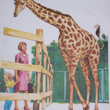 Vintage Teaching Pictures Giraffe Picture Zoo Animal Picture Zoo Nursery Vintage Classroom