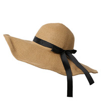 Khaki Bow Trim Straw Floppy Hat