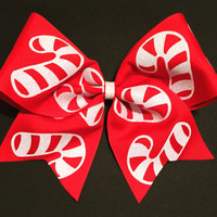 3in. Glitter Candy Cane Cheer Bow