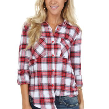 Classic White Plaid Shirt Red