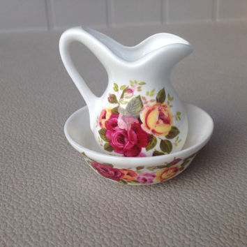 Miniature Rose Pitcher and Basin by Justlin China