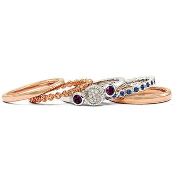 Sterling Silver, 14K Rose Plated & Multi Gemstone Stackable Ring Set