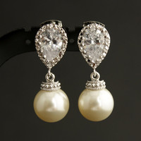 Bridal Pearl Earrings CZ Cubiz Zirconia Bridesmaid Jewelry - Vivian Feiler Designs | Wedding