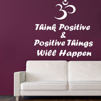 Wall Decals Vinyl Decal Sticker Decor Quote Yoga Think Positive Om Sign KG811
