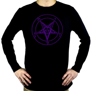 Purple Inverted Pentagram Sabbatic Baphomet Men's Long Sleeve T-Shirt