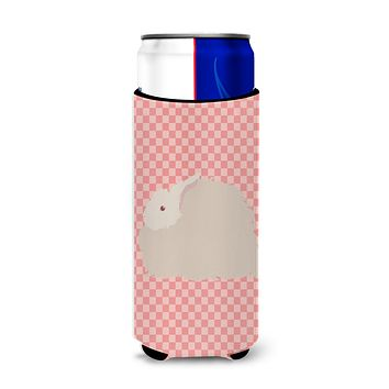 Fluffy Angora Rabbit Pink Check Michelob Ultra Hugger for slim cans