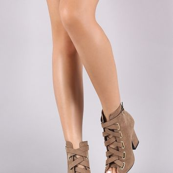 Qupid Suede Corset Lace-Up Thick Heeled Booties