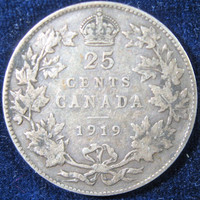 Canada Silver COIN, 1919 Canada Coin,  King George Silver Quarter Dollar Coin, Canada 25 Cent, Collectable Silver Coin, Canadian Silver Coin