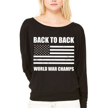 Back to Back World War Champs WOMEN'S FLOWY LONG SLEEVE OFF SHOULDER TEE