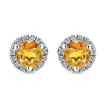 Gabriel Citrine Halo Diamond Cluster Earrings