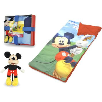 Disney Mickey Mouse Nap Mat with Bonus Figural Pillow Multicolor