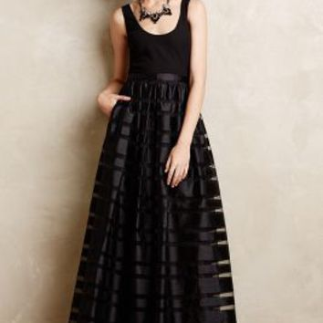 Astor Organza Stripe Gown by Aidan Mattox Black