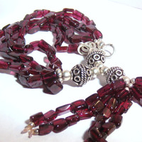 Wine Red Garnet Beaded Bracelet Sterling Silver Bohemian Jewelry