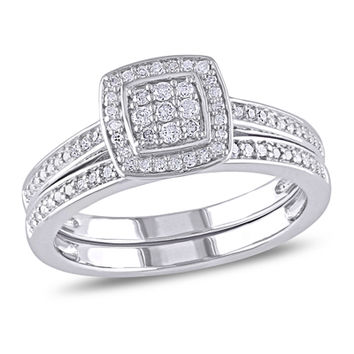 1/4 CT. T.W. Diamond Square Cluster Bridal Set in Sterling Silver
