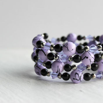 Lilac Purple, Black, and Silver Glass Beaded Memory Wire Bracelet - Handmade Jewelry - One Size Fits All - OOAK - Ready to Ship