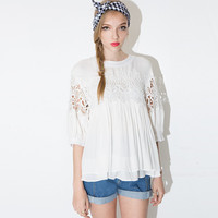 Floral Lace Embroidered Pleated Layered Chiffon Blouse