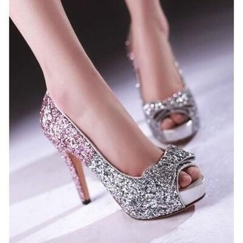 12CM Ultra high heels Plus size 34-43 New Spring summer Women's shoes Thin heels Open toe Bowtie Glitter Party Pink
