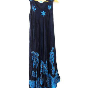 90s SunDress Navy Blue embroidered maxi Tent Frock Hippie festival dress long batik Palm Trees sundress Rayon Women's Free Size Medium Large