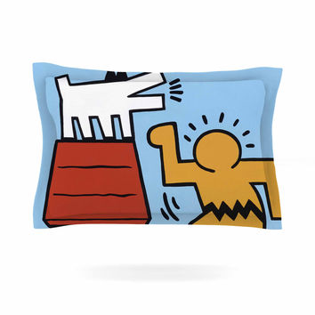 "Jared Yamahata ""Haring-Schulz"" Illustration Pop Art  Pillow Sham"