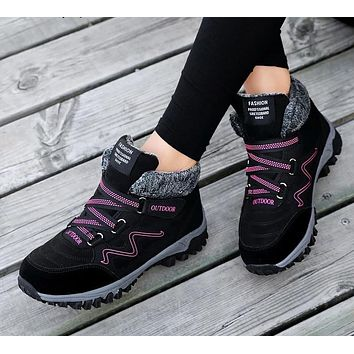 Waterproof Casual Winter Boots Genuine Leather Women shoes