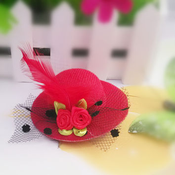 M MISM 2017 New Style Cute Hat Shaped Flower Adornment Girls Feathered Hat Hair Clips Ladies Hair Accessories Fashion Hairpins