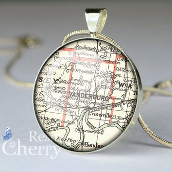 Evansville map glass pendant,map resin pendants,map pendant charms,Indiana- M0434CP