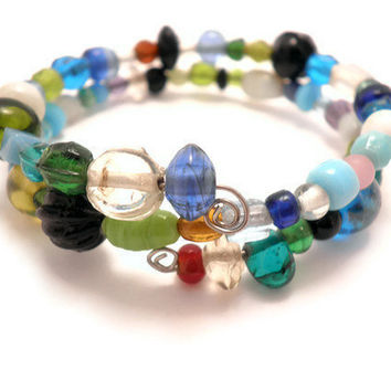Wrap Around Bracelet in Blue Green by Septagram on Etsy