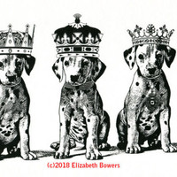 dalmation king queen puppy dogs original art print ink illustration black white