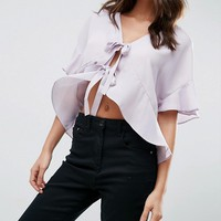ASOS Tie Front Blouse with Frill Sleeve at asos.com